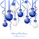 Blue and white Christmas balls with tinsel Stock Photos