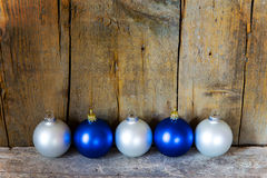 Blue and white christmas balls Royalty Free Stock Photo