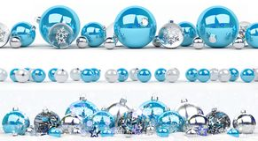 Blue and white christmas baubles collection lined up 3D renderin. Blue and white christmas baubles collection lined up on white background 3D rendering Royalty Free Stock Image