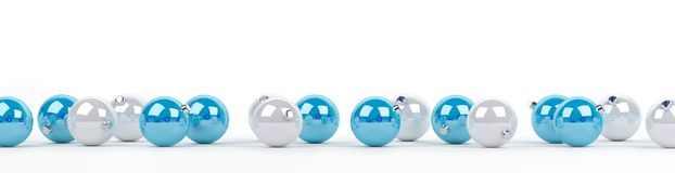 Blue and white christmas baubles lined up 3D rendering. Blue and white christmas baubles lined up on white background 3D rendering Stock Photo