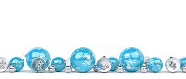 Blue and white christmas baubles lined up 3D rendering. Blue and white christmas baubles lined up on white background 3D rendering Royalty Free Stock Image