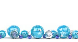 Blue and white christmas baubles lined up 3D rendering. Blue and white christmas baubles lined up on white background 3D rendering Stock Image
