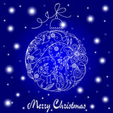 Blue and White Christmas Card Royalty Free Stock Images