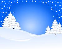 Blue and white christmas card. With tree and snow Stock Images