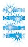 Blue-white christmas crackers (vector) Stock Photos