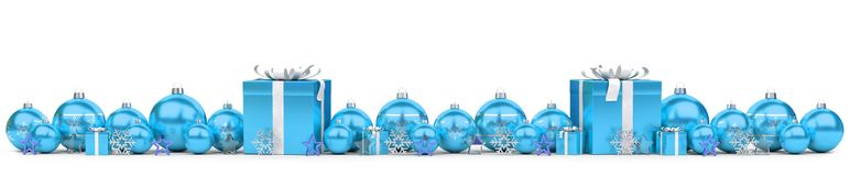 Blue and white christmas gifts and baubles 3D rendering. Blue and white christmas gifts and baubles lined up on snowy background 3D rendering Stock Photo