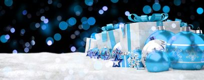 Blue and white christmas gifts and baubles 3D rendering. Blue and white christmas gifts and baubles lined up on snowy background 3D rendering Royalty Free Stock Images