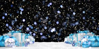 Blue and white christmas gifts and baubles 3D rendering. Blue and white christmas gifts and baubles lined up on snowy background 3D rendering Stock Image