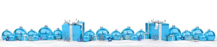 Blue and white christmas gifts and baubles 3D rendering. Blue and white christmas gifts and baubles lined up on snowy background 3D rendering Stock Photography