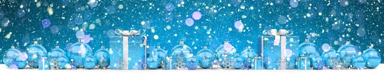Blue and white christmas gifts and baubles 3D rendering. Blue and white christmas gifts and baubles lined up on snowy background 3D rendering Royalty Free Stock Photo