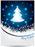 Blue white christmas greeting with bursting scribbled christmast Royalty Free Stock Images