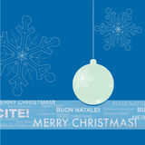 Blue and White Christmas Greeting Card. Blue and White Christmas Ornament for Greeting Card Stock Illustration