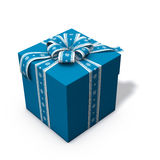 Blue and white christmas present 03. 3d rendering/illustration of a blue and white christmas present Royalty Free Stock Photos