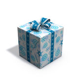 Blue and white christmas present 06. 3d rendering/illustration of a blue and white christmas present Stock Images