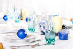 Blue and white Christmas table Stock Photography