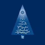 Blue and White Christmas Tree Greeting Card Stock Photo