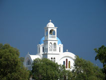 Blue and White Church. A typical blue and white Greek island church at Agistri island stock images