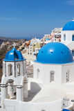 Blue and white church of Oia village. On Santorini island. Greece Stock Photos