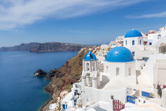 Blue and white church of Oia village. On Santorini island. Greece Royalty Free Stock Photography