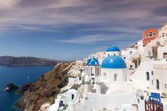 Blue and white church of Oia village. On Santorini island. Greece Royalty Free Stock Photo