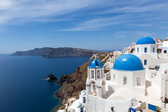 Blue and white church of Oia village  Stock Images