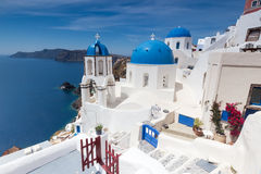 Blue and white church of Oia village Stock Image