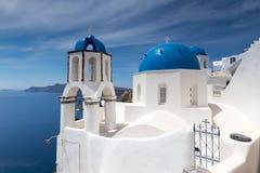 Blue and white church of Oia village. On Santorini island. Greece Stock Photography