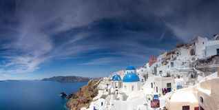 Blue and white church of Oia village on Santorini  Royalty Free Stock Photography