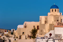 Blue and White Church in Santorini, Greece. The churches of Santorini are part of its landscape, together with the whitewashed cycladic houses that hug the Royalty Free Stock Image