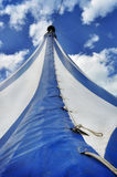 Blue and white circus tent Royalty Free Stock Photos