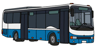 Blue and white city bus Royalty Free Stock Photo