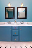 Blue and white classic modern bathroom. Stock Image