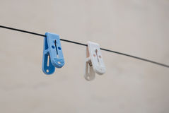 Blue and white cloth dry pegs. Blue and white plastic cloth dry hangers on hanging a close rope Royalty Free Stock Photo