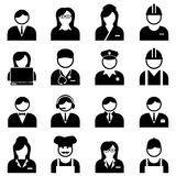 Blue and white collar professionals and workers. Icon set Royalty Free Stock Image