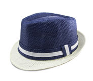 Blue and white colored hat Stock Photos