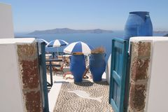 Blue and white colors of Santorini, Greece Stock Photos