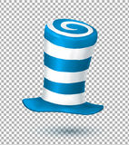 Blue and white colors striped realistic vector carnival hat isolated on transparency grid background Stock Photography