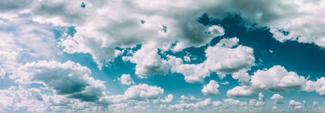 Blue And White Colours Natural Sky Abstract Background. Panorama Royalty Free Stock Photos