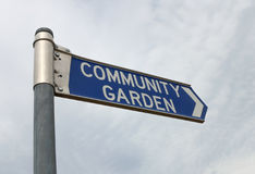 Blue and white Community Garden sign Royalty Free Stock Photography