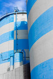 Blue-White Concrete Silos Stock Photography