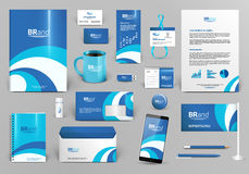 Blue and white corporate identity with wave. Blue branding design kit. Identity template with wave for spa, shop, boutique, medical stomatology or beauty сentre Stock Image