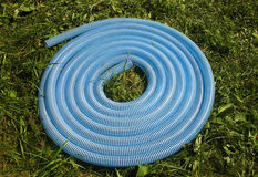 Blue and white corrugated plastic hose on green grass Stock Photos