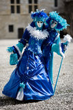 Blue and white costumes for Carnival Stock Image