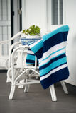 Blue and white crochet throw Stock Image