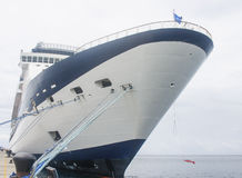 Blue and White Cruise Ship with Blue Ropes Royalty Free Stock Photography