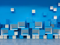 Blue and white cube pattern Stock Photo