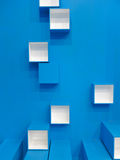 Blue and white cube pattern Stock Images
