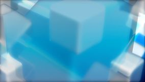 Blue white cubes shape spinning stock footage