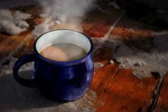 Cup of coffee in a cold day stock photography