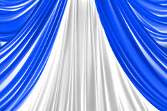 Blue and white curtain on stage Royalty Free Stock Image